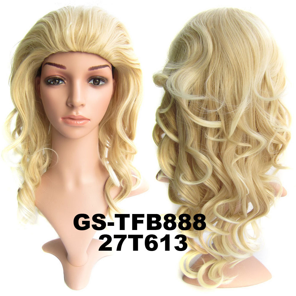 22 Inch Silky Curly and Long 3/4 Half Head Synthetic Hair Wigs With Comb 27T613