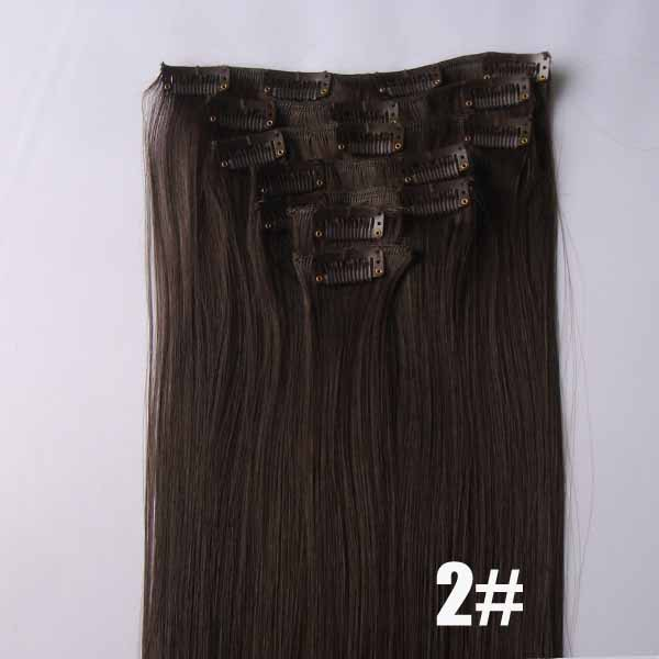 22 Inch Smooth Straight and Long Full Head Clip in Synthetic Hair Extensions  2# 7 Pieces