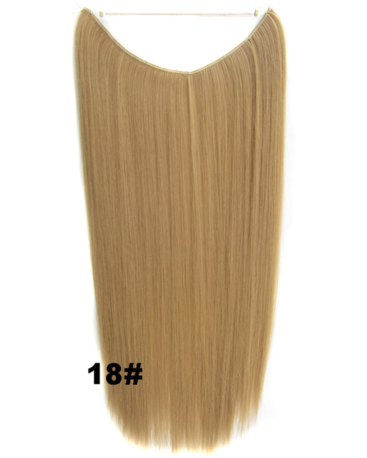 22 Inch Straight and Long Invisible One Piece Miracle Wire Flip in Synthetic Hair Extension 18#