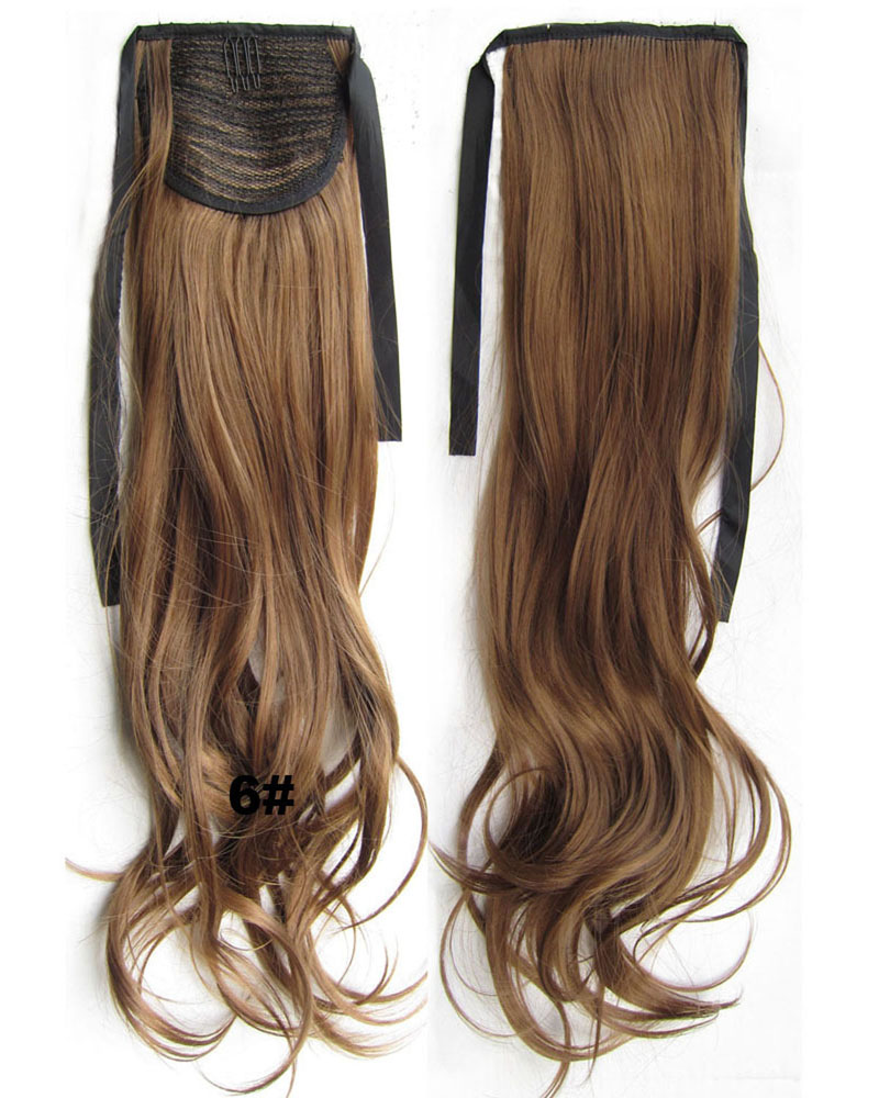 22 Inch Woman Absording Curly and Long Lace/Ribbon Synthetic Hair Ponytail 6#
