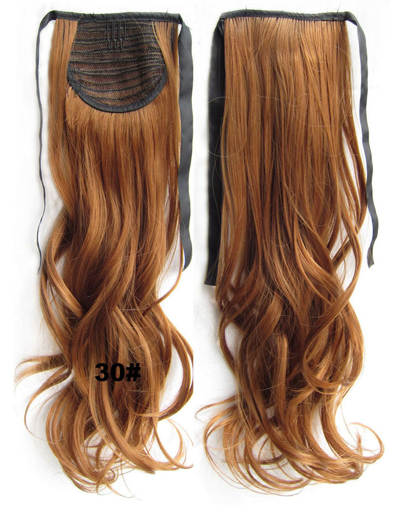 22 Inch Woman Captivating Curly and Long Lace/Ribbon Synthetic Hair Ponytail 30#