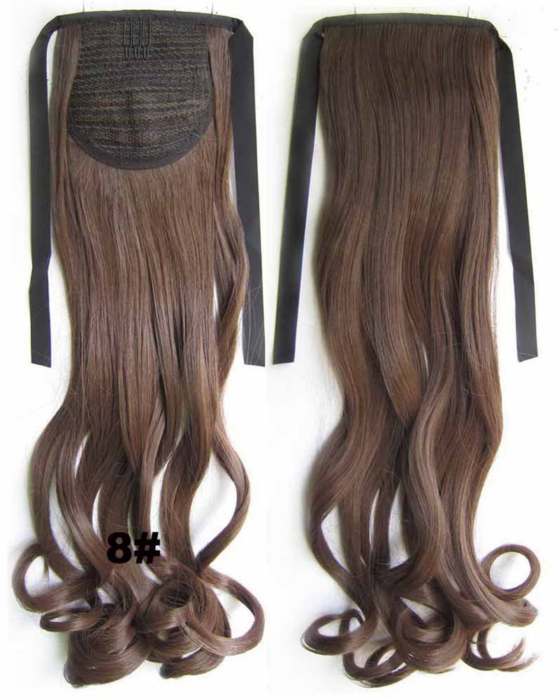 22 Inch Woman Decent Curly and Long Lace/Ribbon Synthetic Hair Ponytail 8#