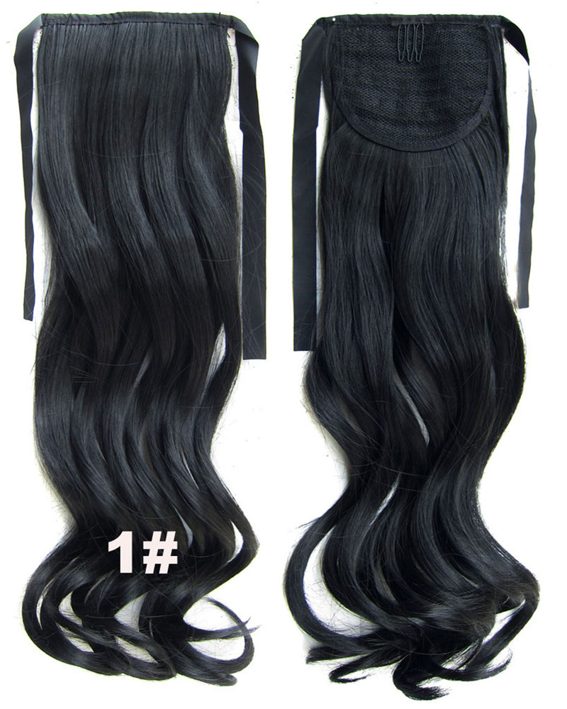 22 Inch Woman Full Curly and Long Lace/Ribbon Synthetic Hair Ponytail1#