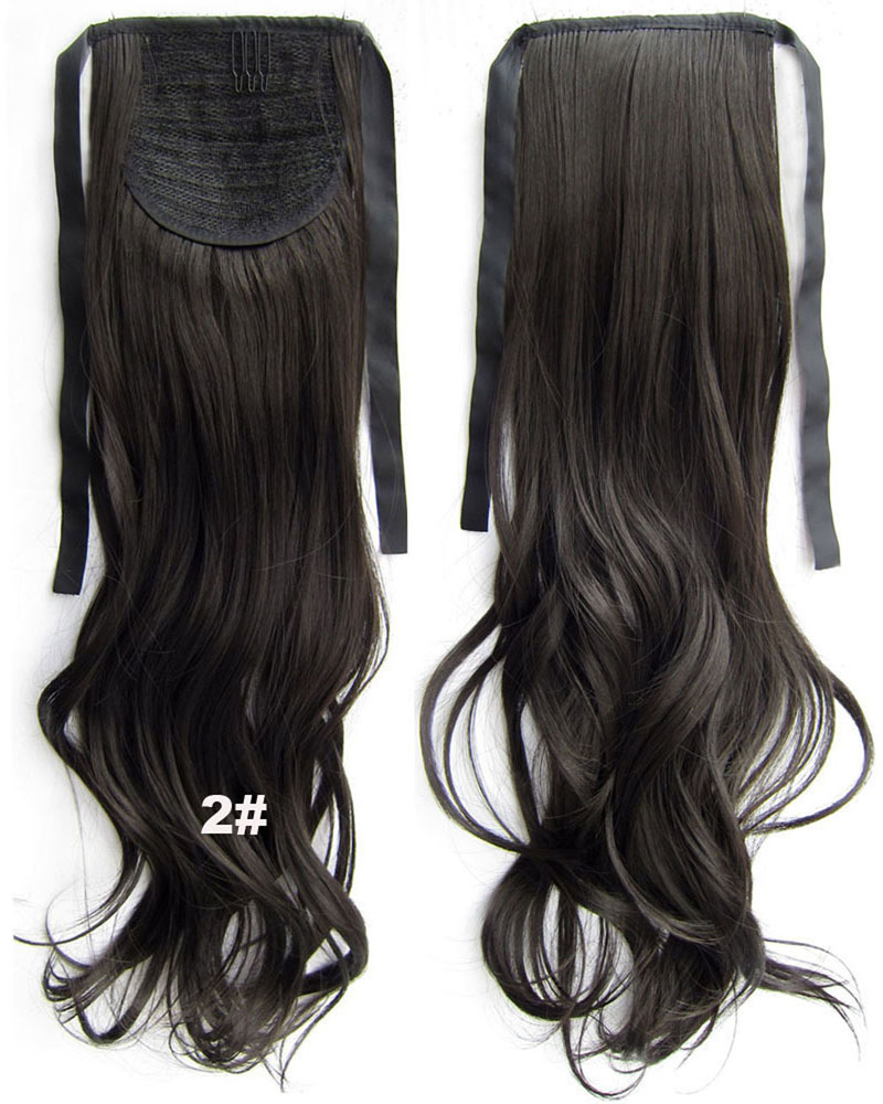 22 Inch Woman Mysterious  Curly and Long Lace/Ribbon Synthetic Hair Ponytail  2#