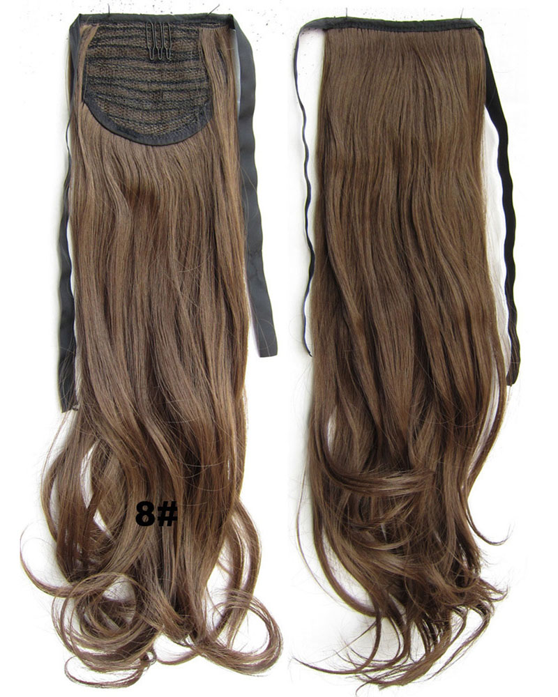 22 Inch Woman Sophisticated Curly and Long Lace/Ribbon Synthetic Hair Ponytail 8#