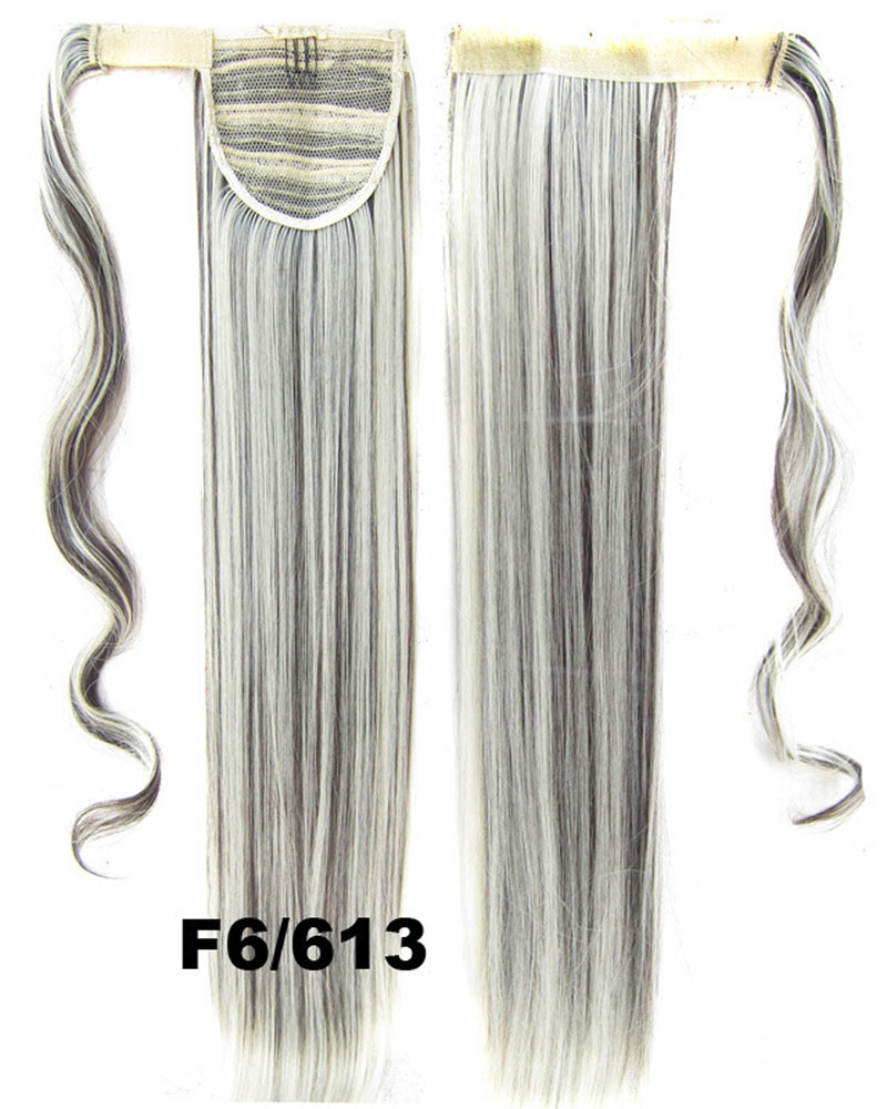 22 Inch Women Refined Straight and Long Wrap Around Synthetic Hair Ponytail 4#