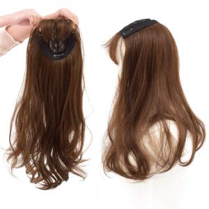 """22"""" Long Wavy Hair Toppers Closure with Clips Top Crown Wiglet Topper for Women with Thinning Hair"""