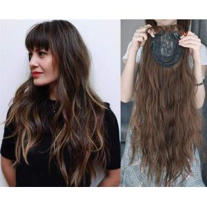 """22"""" Wavy Hair Topper with Bangs Add Volume Hair Extension Hair Pieces for Women with Thinning Hair"""