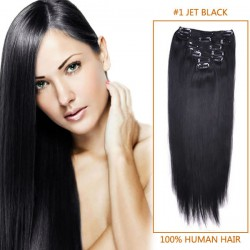 24 Inch #1 Jet Black Clip In Remy Human Hair Extensions 7pcs