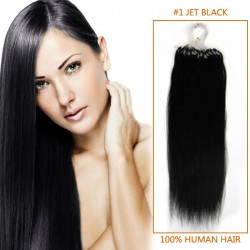 24 Inch #1 Jet Black Micro Loop Human Hair Extensions 100S 100g