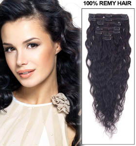 24 Inch #1 Jet Black Pretty Clip In Hair Extensions Loose Wavy 7 Pcs