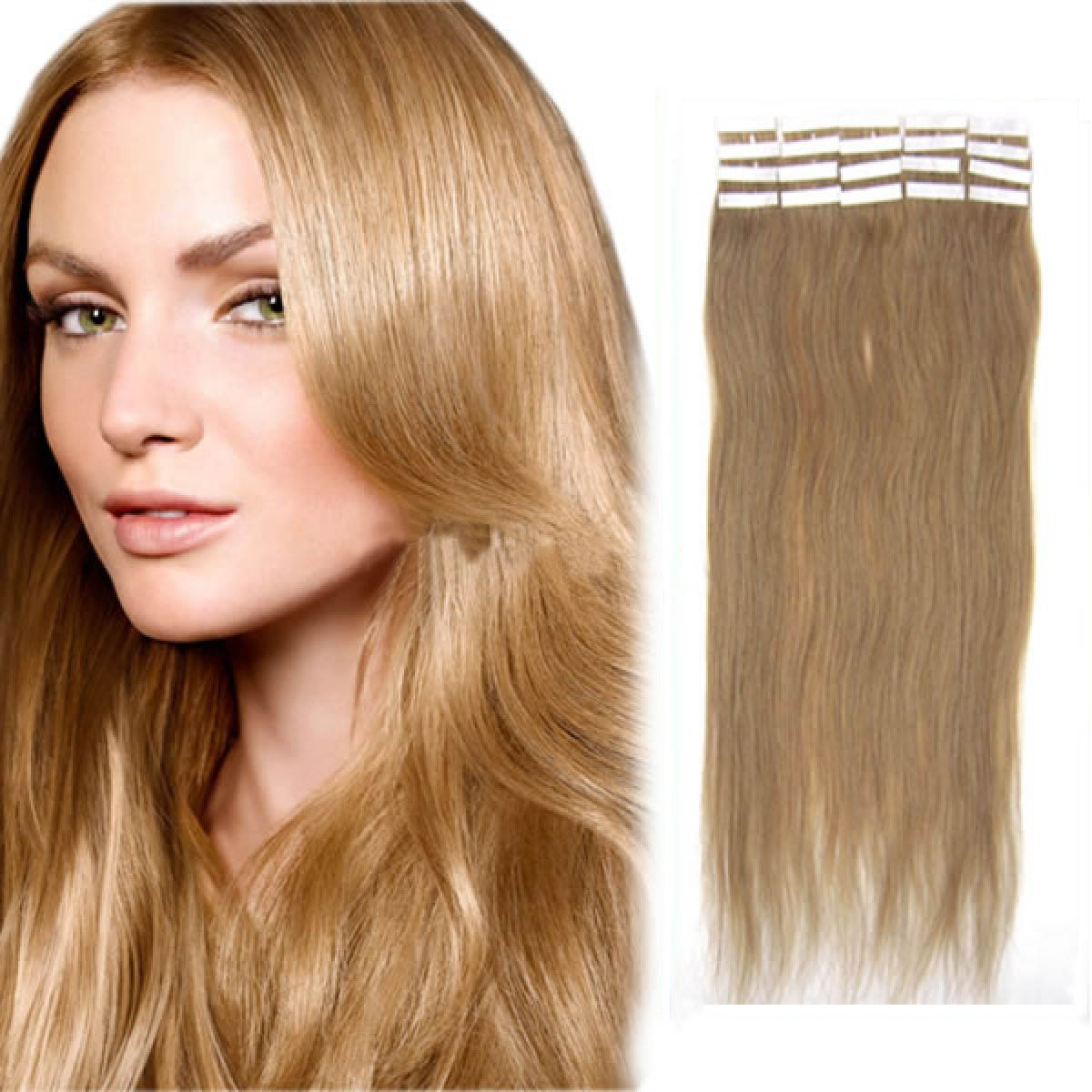 24 Inch 16 Golden Blonde Tape In Human Hair Extensions 20pcs