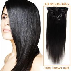 24 Inch #1b Natural Black Clip In Human Hair Extensions 11pcs