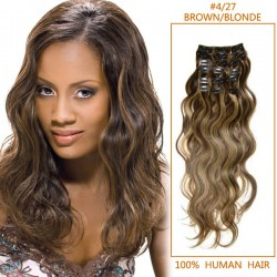 24 Inch #4/27 Clip In Hair Extensions Body Wave 11 Pieces