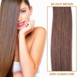 24 Inch #6 Light Brown Clip In Human Hair Extensions 10pcs