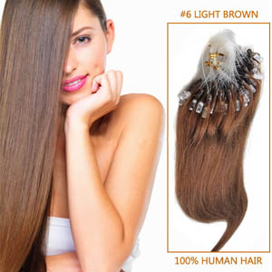 24 Inch #6 Light Brown Micro Loop Human Hair Extensions 100S 100g