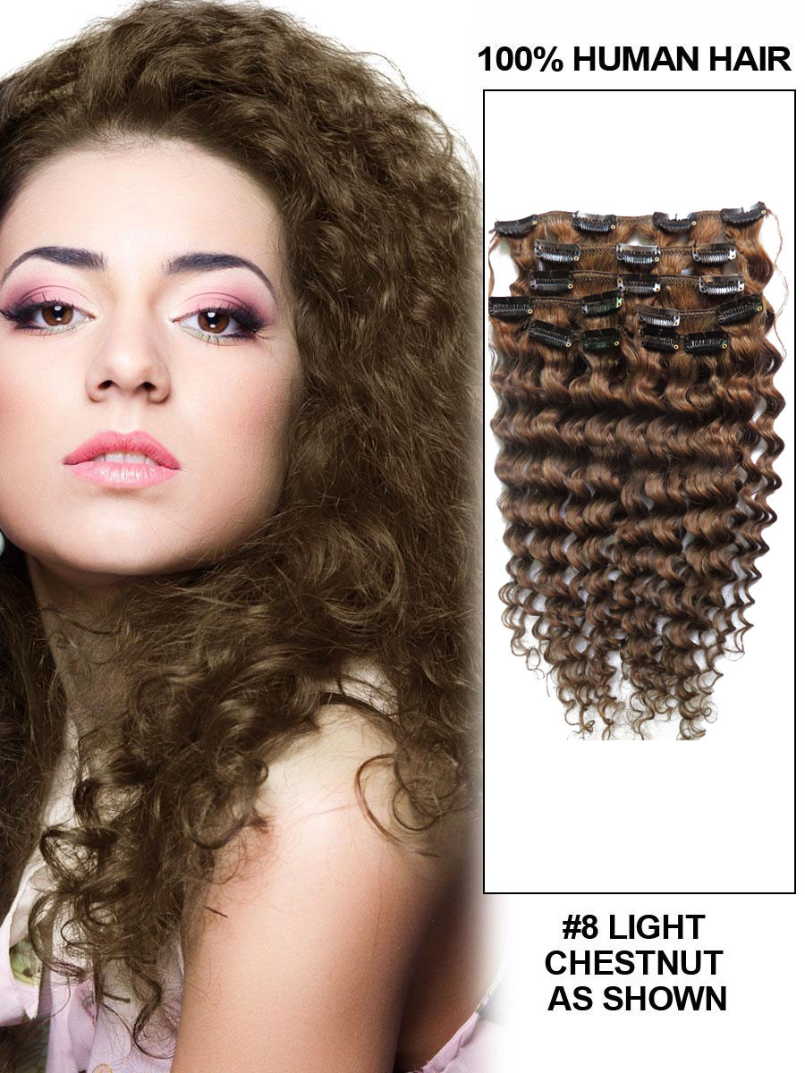Inch 8 ash brown unusual clip in hair extensions curly 7 pieces 24 inch 8 ash brown unusual clip in hair extensions curly 7 pieces pmusecretfo Gallery