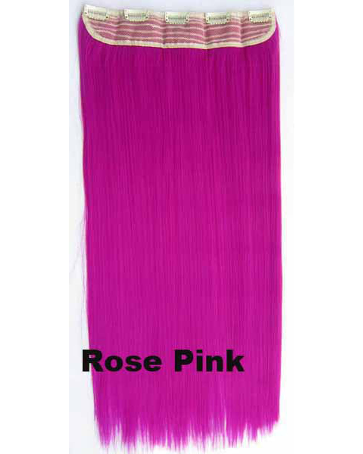 24 inch Bright Straight Long One Piece 5 Clips Clip in Synthetic Hair Extension Rose Pink