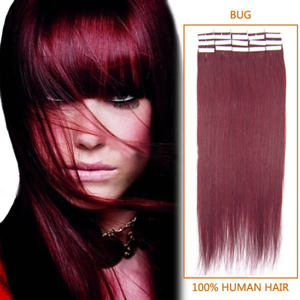 24 Inch Bug Tape In Human Hair Extensions 20pcs