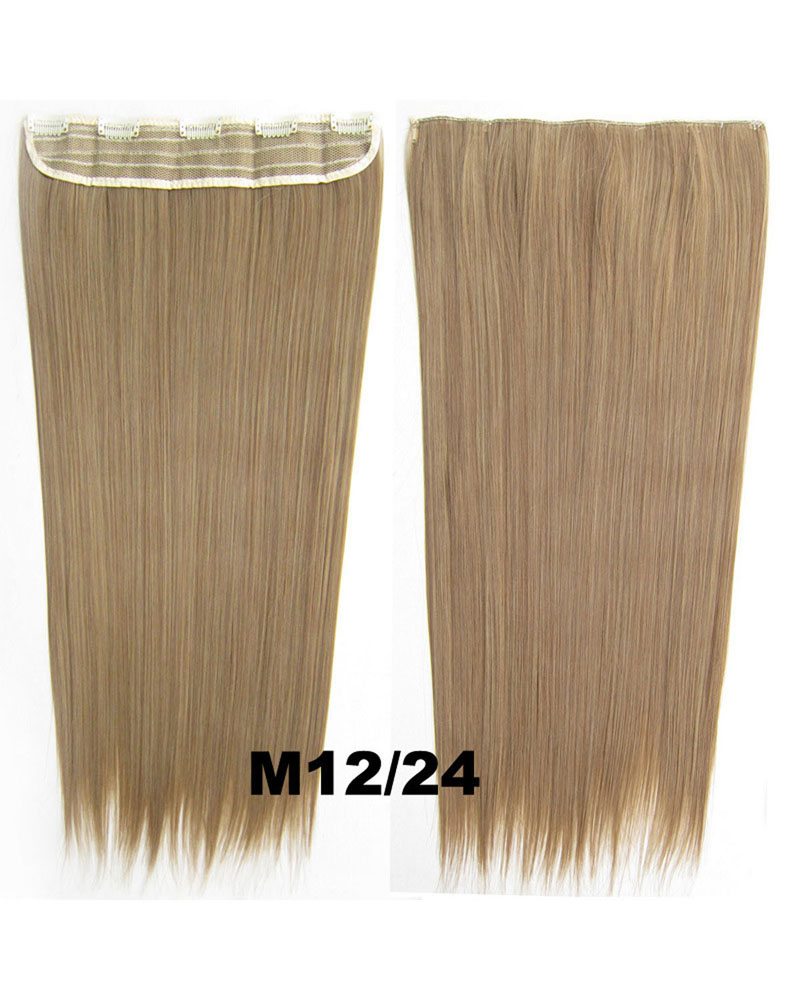 24 inch Charming Straight Long One Piece 5 Clips Clip in Synthetic Hair Extension M12/14