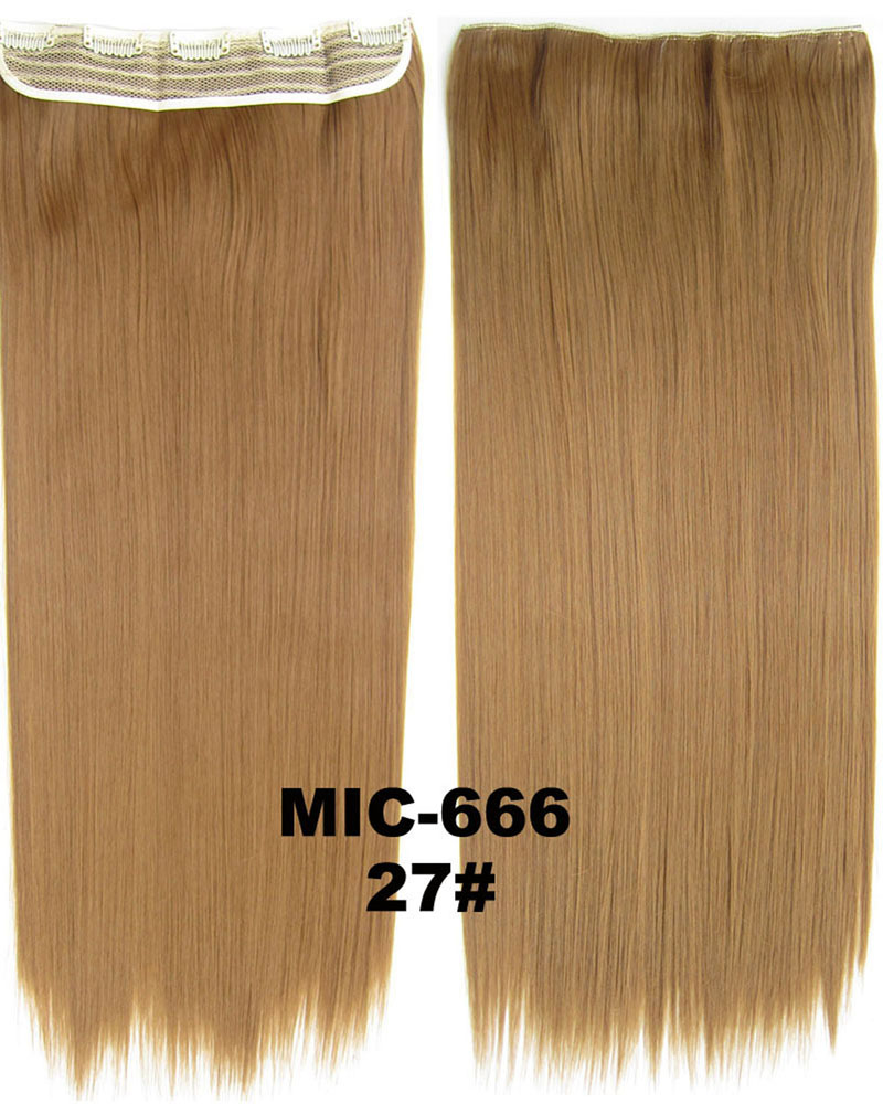 24 inch Clean Straight Long One Piece 5 Clips Clip in Synthetic Hair Extension 27# 100g