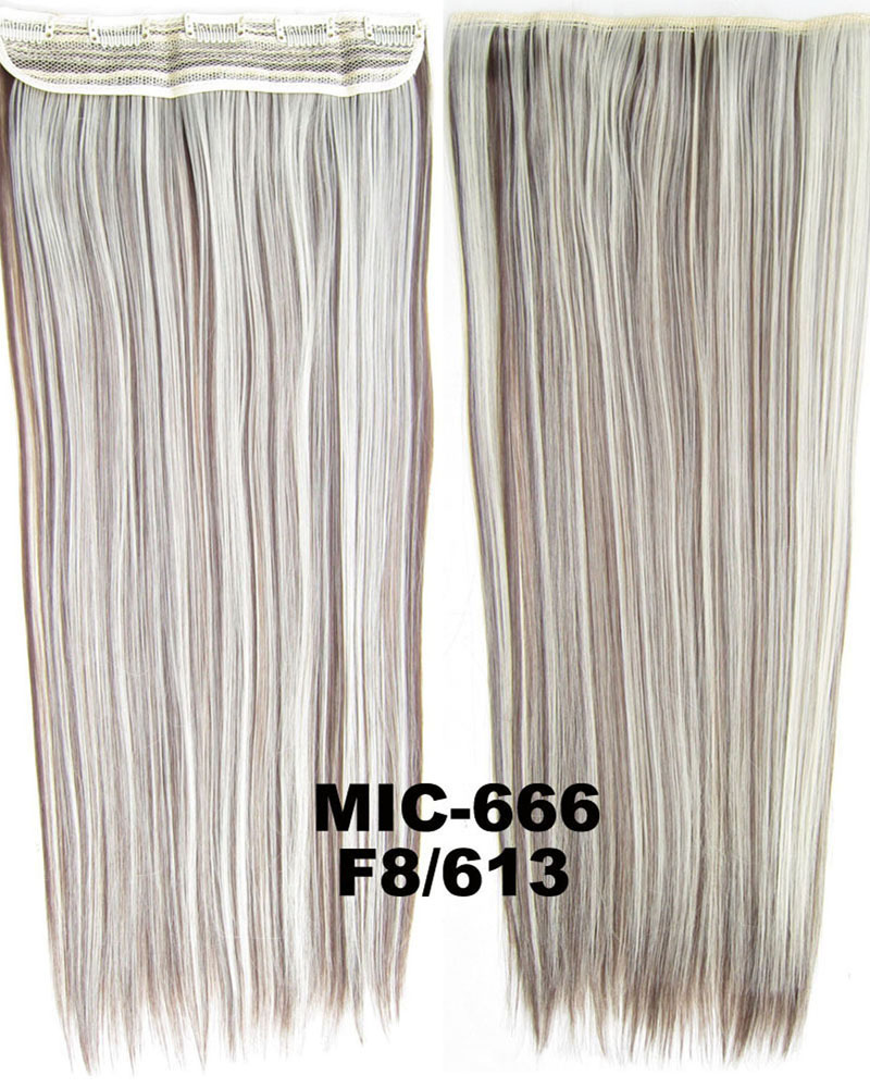 24 inch Comfortable Straight One Piece 5 Clips Clip in Synthetic Hair Extension F8/613#