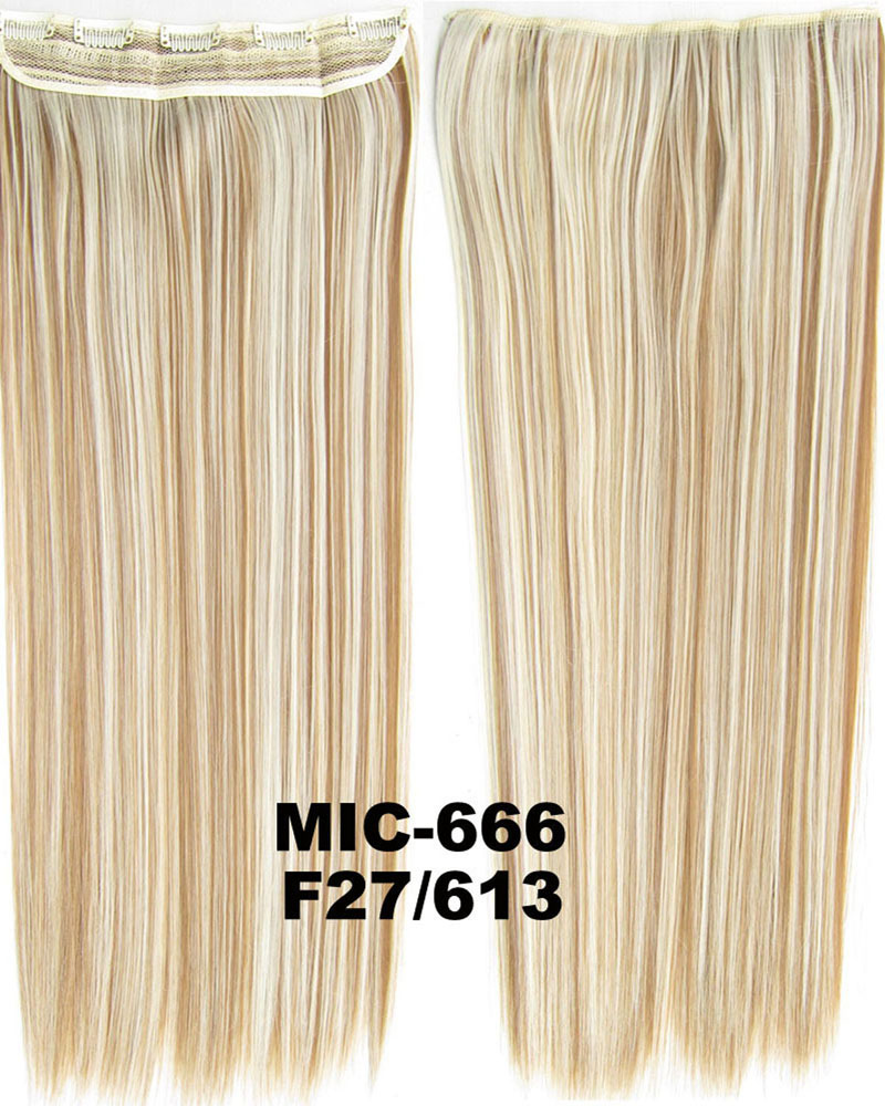 24 inch Decent Straight Long One Piece 5 Clips Clip in Synthetic Hair Extension F27/613 100g