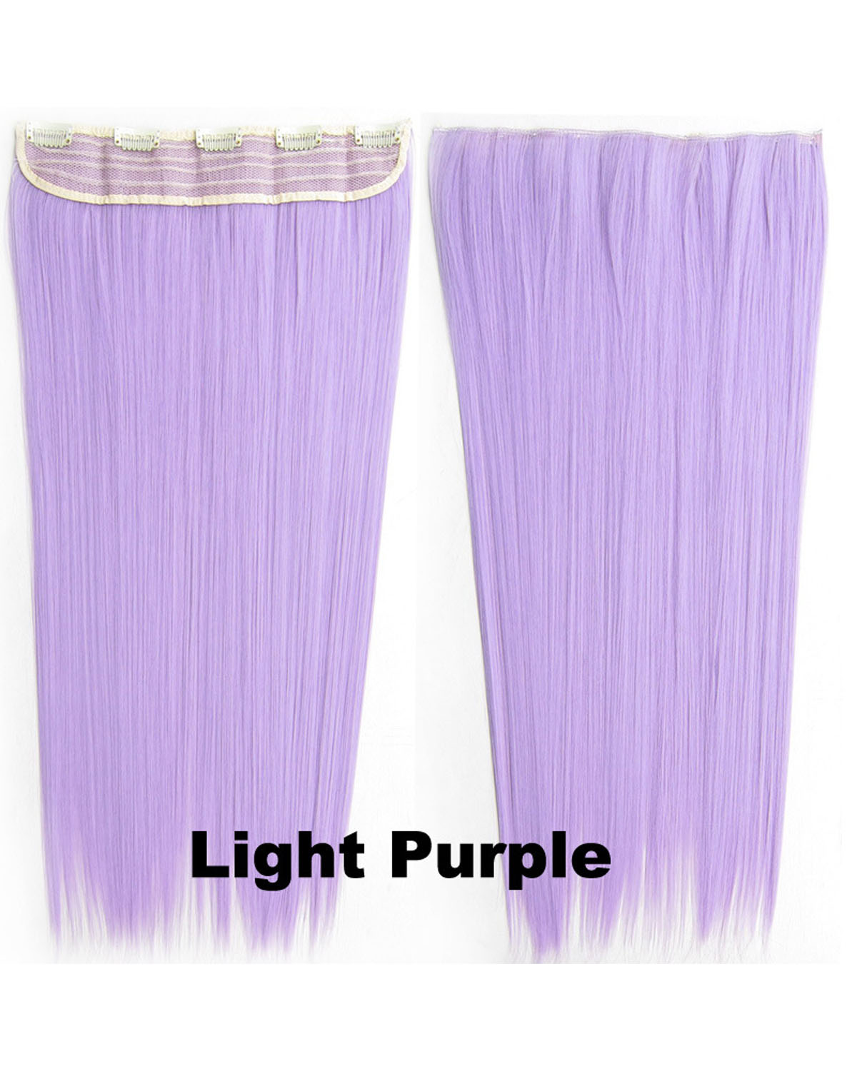 24 inch Faddish Straight Long One Piece 5 Clips Clip in Synthetic Hair Extension Light Purple