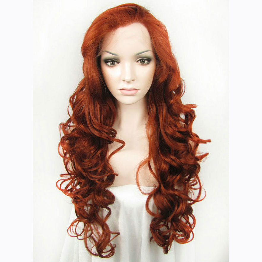 24 Inch Fashion Sexy Women Brown Wavy Lace Front Wig
