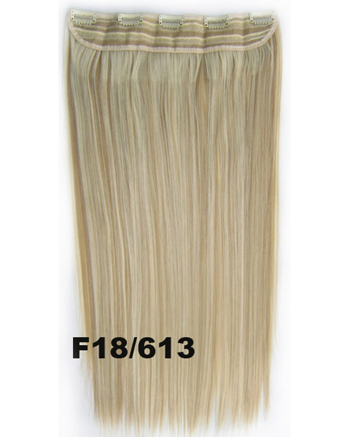 24 Inch Female Ausgezeichnet  Long and Straight One Piece 5 Clips Clip in Synthetic Hair Extension  F18/613