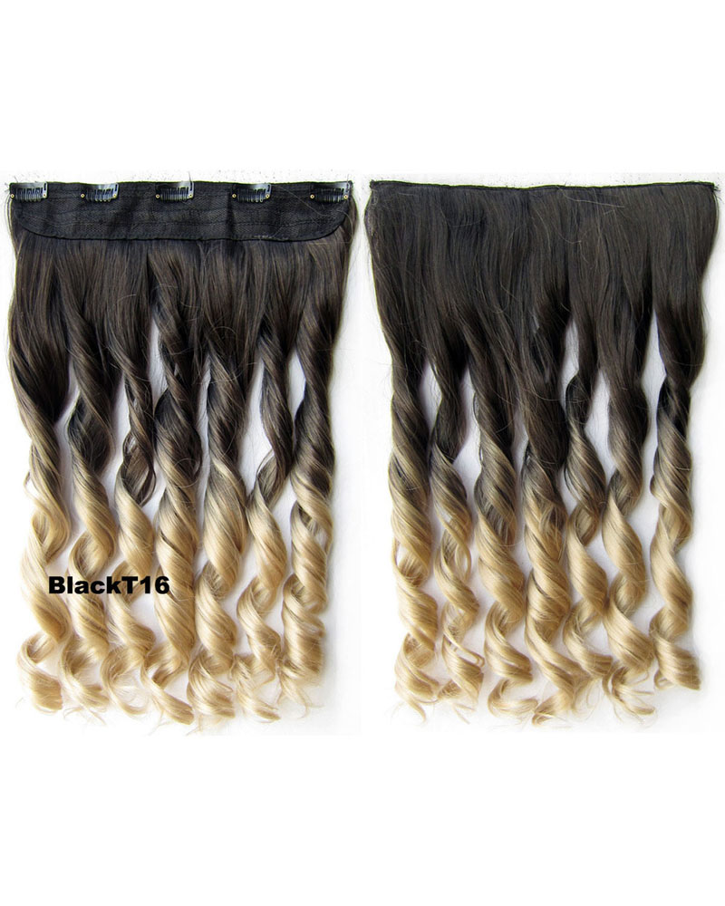 24 inch Female Colorful Long Curly One Piece 5 Clips Clip in Synthetic Hair Extension  Ombre BlackT16