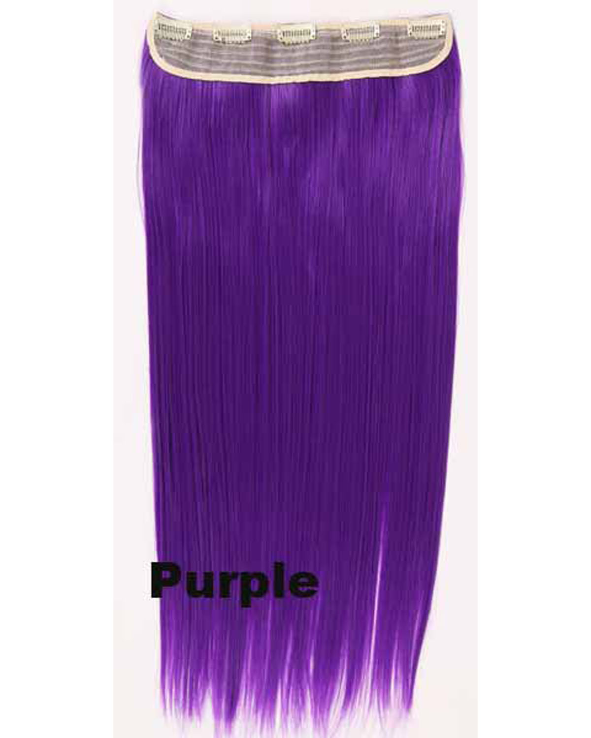24 Inch Female Colorful  Long Straight One Piece 5 Clips Clip in Synthetic Hair Extension Purple