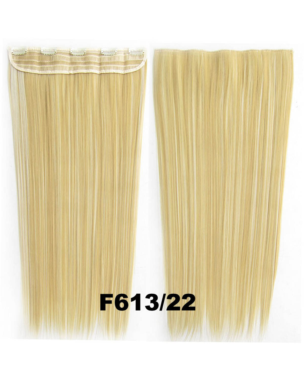 24 Inch Female Delicate Long and Straight Hot-Sale One Piece 5 Clips Clip in Synthetic Hair Extension F613/27