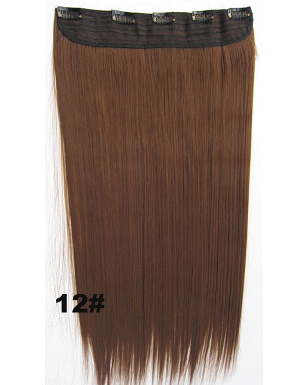 24 Inch Female Elegant Long and Straight Hot-Sale One Piece 5 Clips Clip in Synthetic Hair Extension12#
