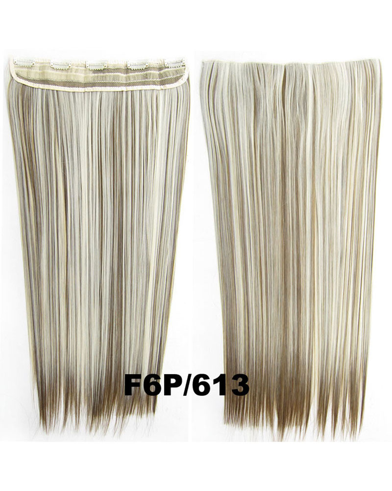 24 Inch Female Faddish Long and Straight Hot-Sale One Piece 5 Clips Clip in Synthetic Hair Extension F6P/613