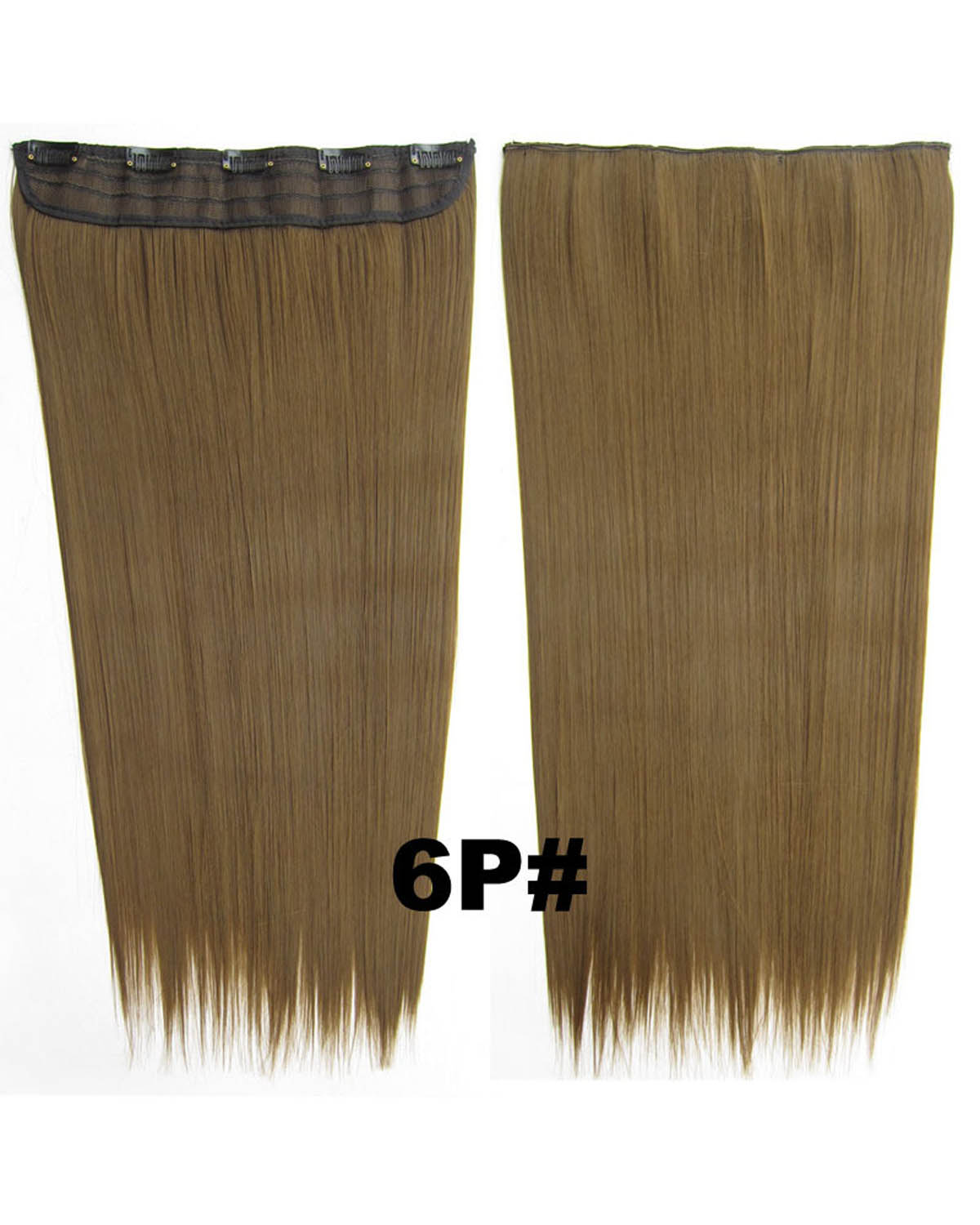 24 Inch Female Fashionable and Clean  Long Straight One Piece 5 Clips Clip in Synthetic Hair Extension 6P#