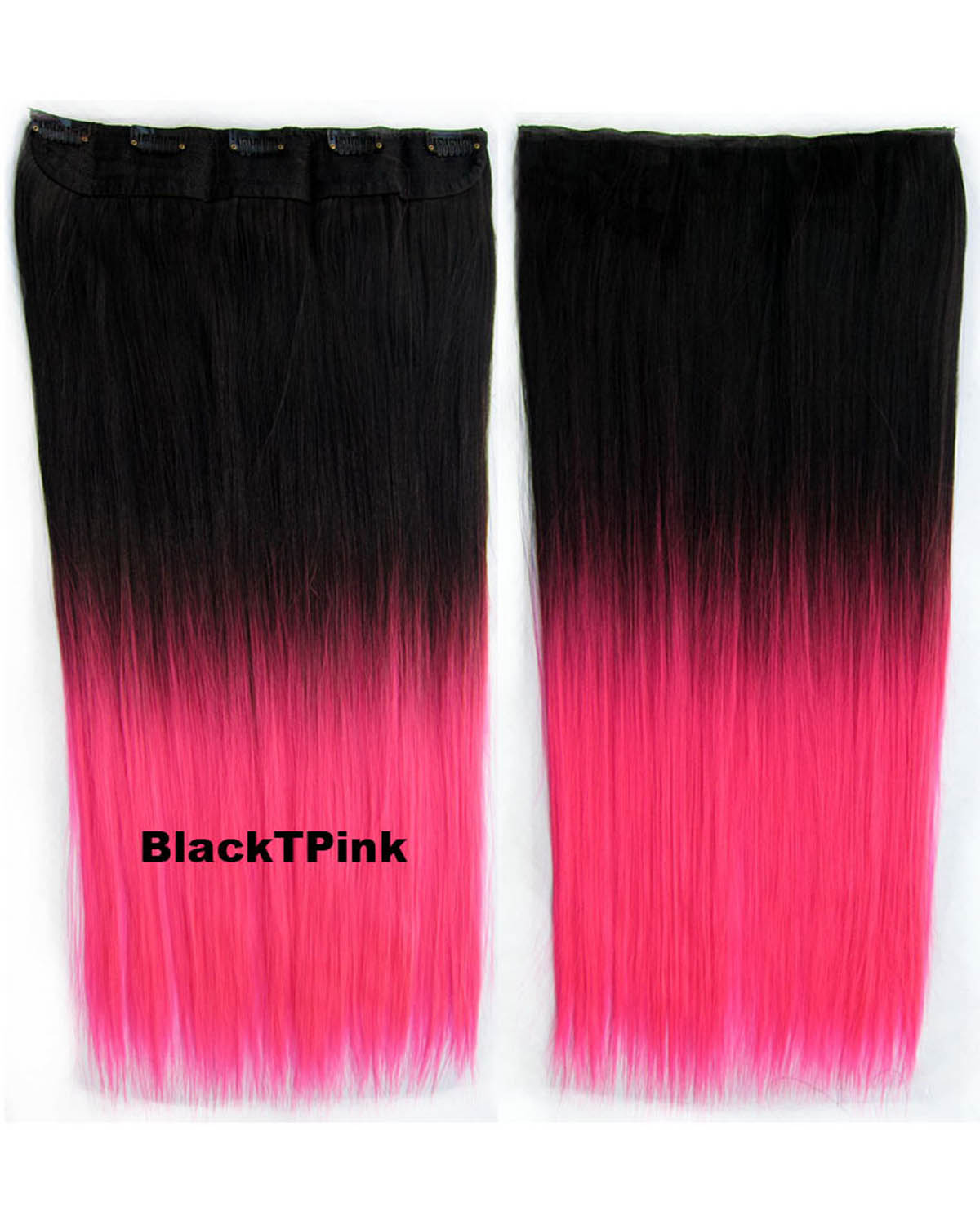 24 Inch Female Fashionable and Silky  Long Straight One Piece 5 Clips Clip in Synthetic Hair Extension Ombre  GS-666  BlackTpink