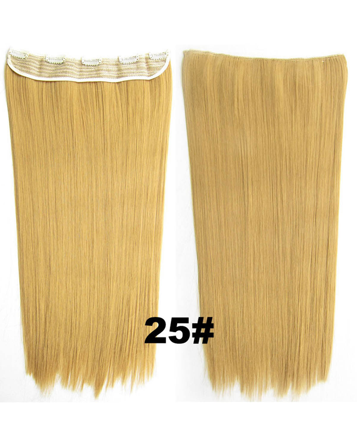24 Inch Female Fine Long and Straight Hot-Sale One Piece 5 Clips Clip in Synthetic Hair Extension 25#