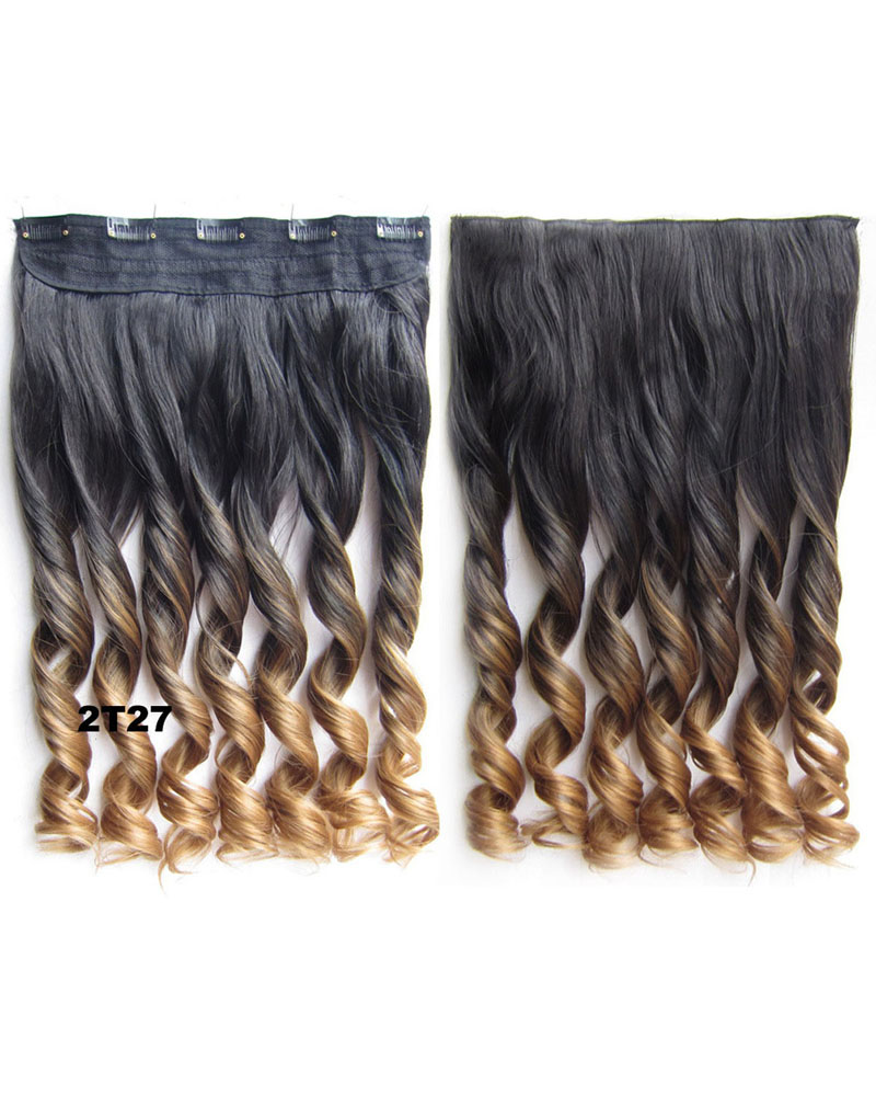 24 Inch Female Glowing Hot Sale Body Wave Curly Long One Piece 5 Clips Clip in Synthetic Hair Extension Ombre  dip dye 2T27