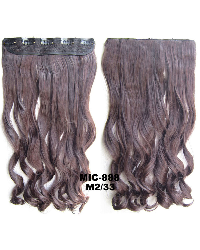 24 Inch Female Good-quality and Salable Body Wave Curly Long One Piece 5 Clips Clip in Synthetic Hair Extension Ombre M2/33 100g