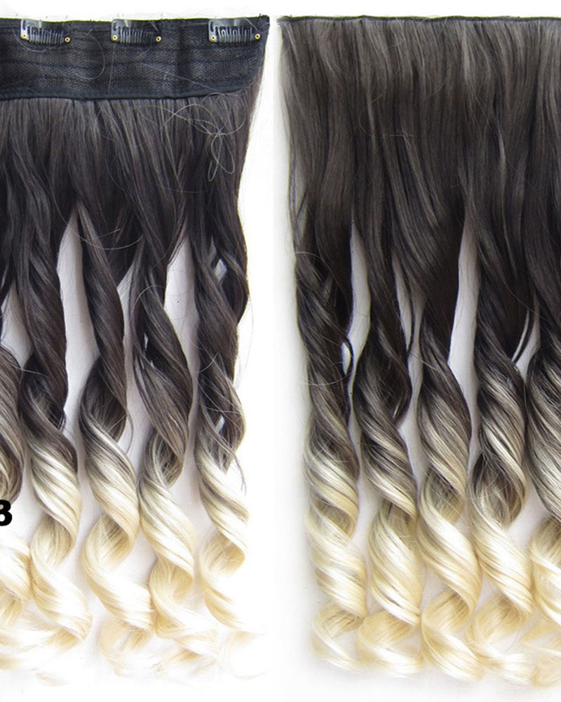 24 inch Female Grace Long Curly One Piece 5 Clips Clip in Synthetic Hair Extension Ombre 2T613