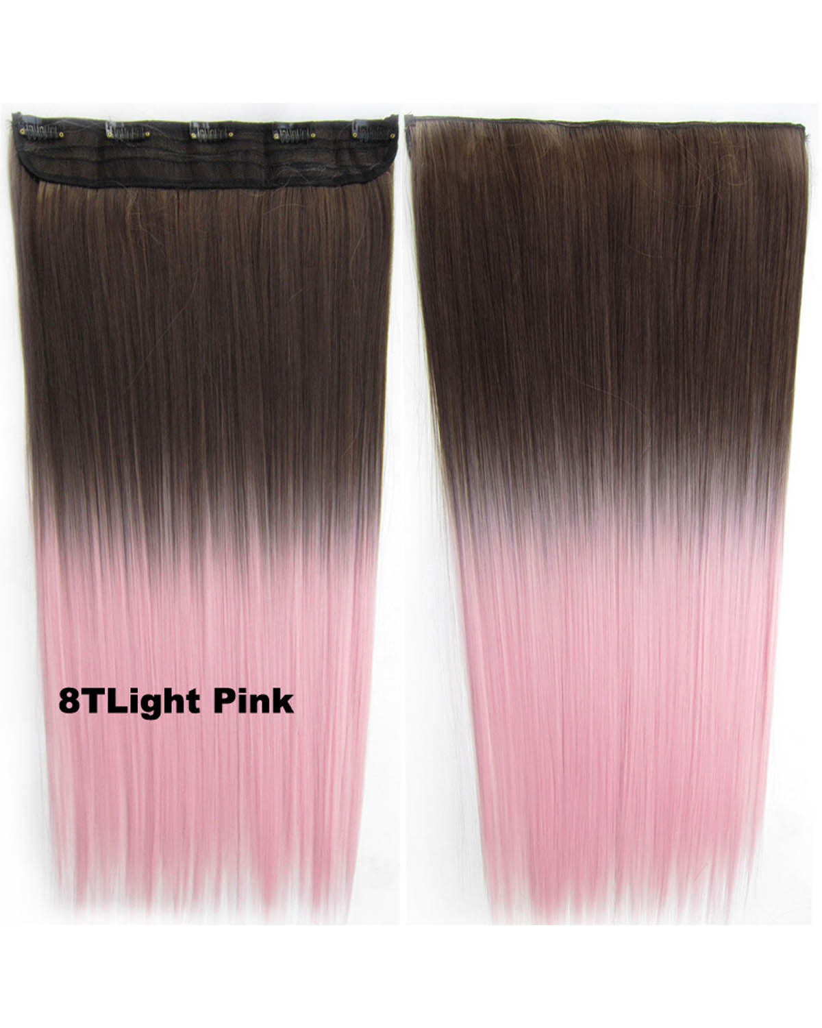 24 Inch Female Long and Smooth Straight One Piece 5 Clips Clip in Synthetic Hair Extension Ombre 8TLight Pink