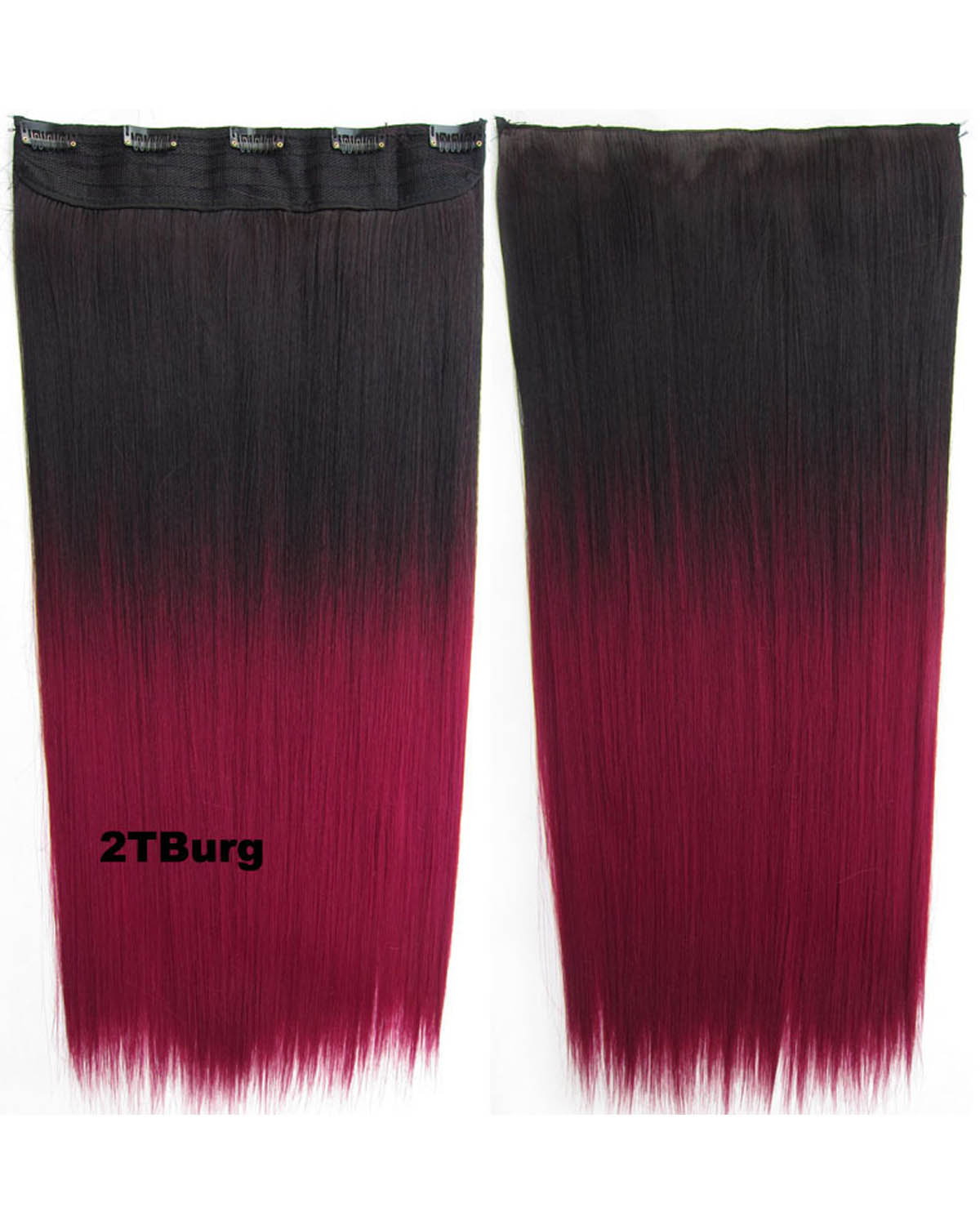 24 Inch Female Long and Straight Hot-Sale One Piece 5 Clips Clip in Synthetic Hair Extension Ombre 2TBurg