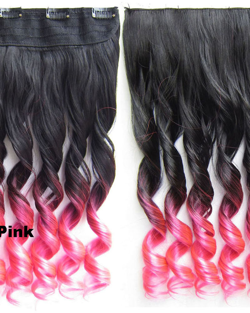 24 Inch Female Modern and Shining Body Wave Curly Long One Piece 5 Clips Clip in Synthetic Hair Extension Ombre BlackTPink