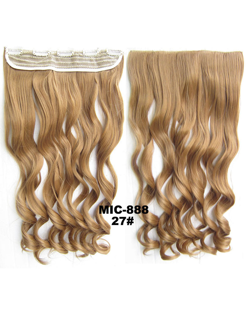 24 Inch Female Newly Korean Style Curly Long One Piece 5 Clips Clip in Synthetic Hair Extension 27# 100g