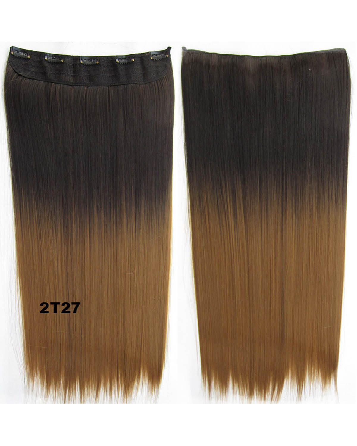 24 Inch Female Newly Korean Style Straight One Piece 5 Clips Clip in Synthetic Hair Extension Ombre 2T27