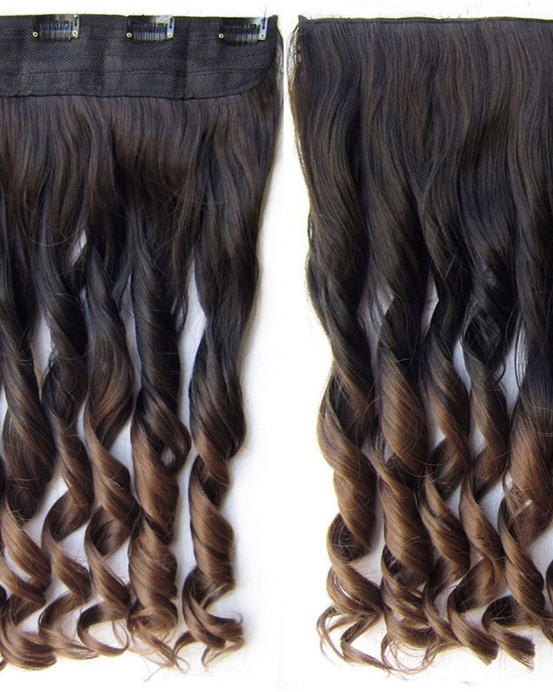 24 Inch Female Newly Salable Body Wave Curly Long One Piece 5 Clips Clip in Synthetic Hair Extension Ombre2T10#