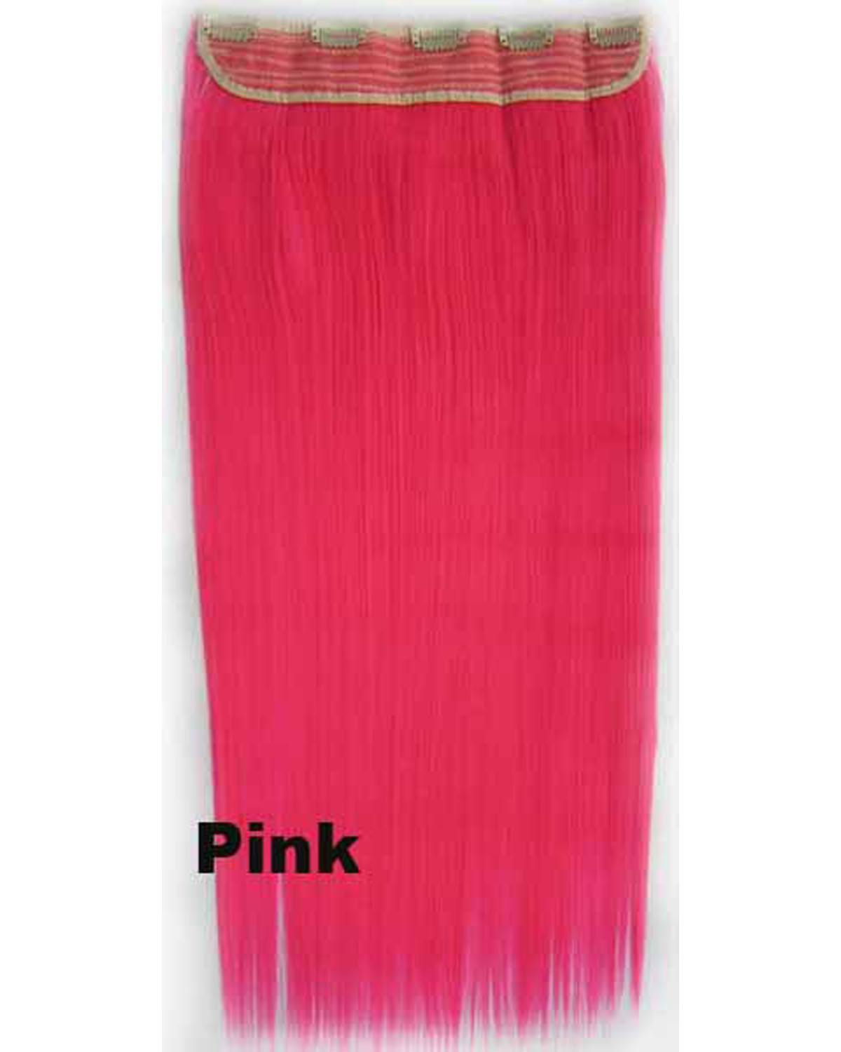 24 Inch Female Nice Straight Long One Piece 5 Clips Clip in Synthetic Hair Extension Pink