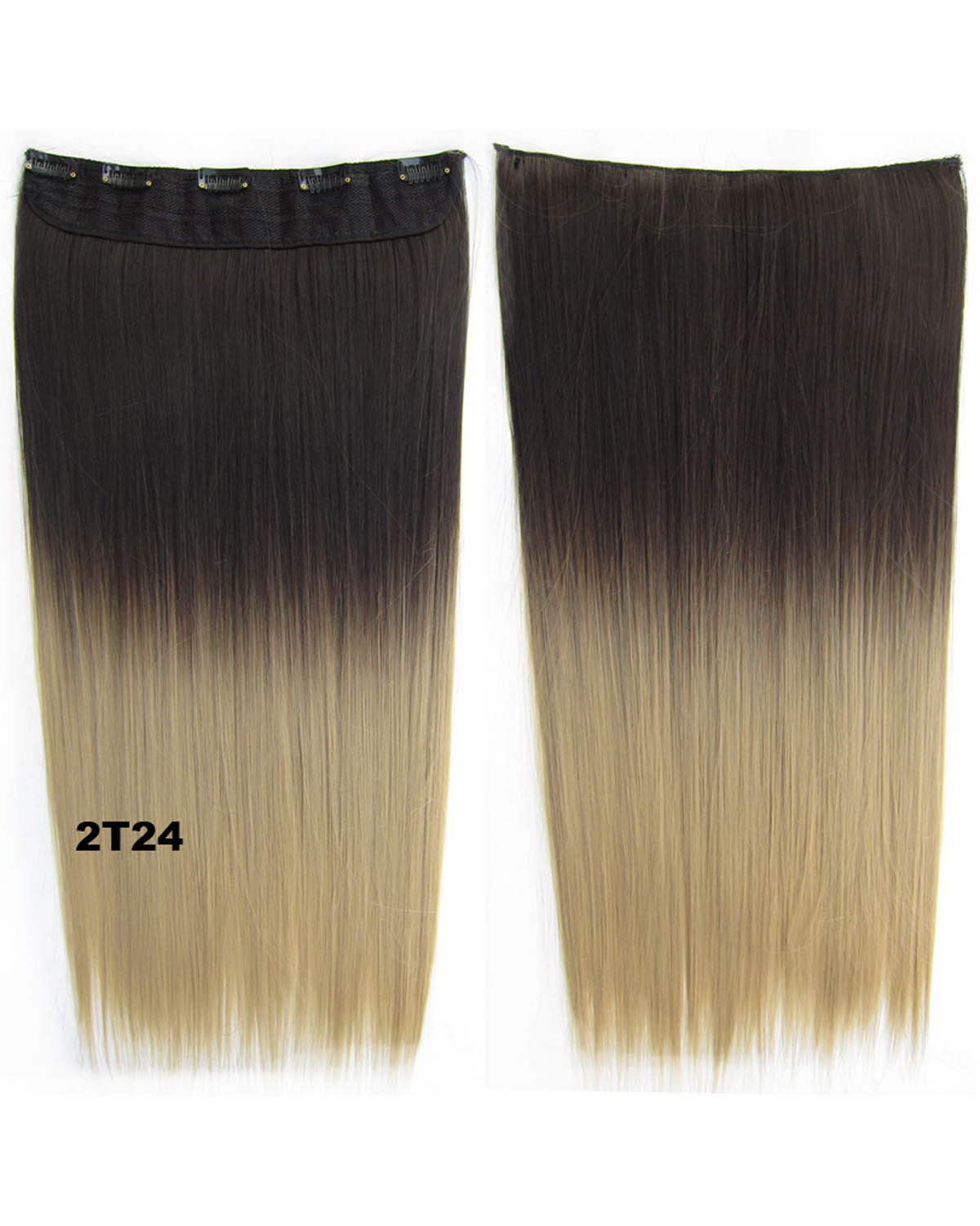 24 Inch Female Popular and Clean Long Straight One Piece 5 Clips Clip in Synthetic Hair Extension Ombre GS-666 2T24