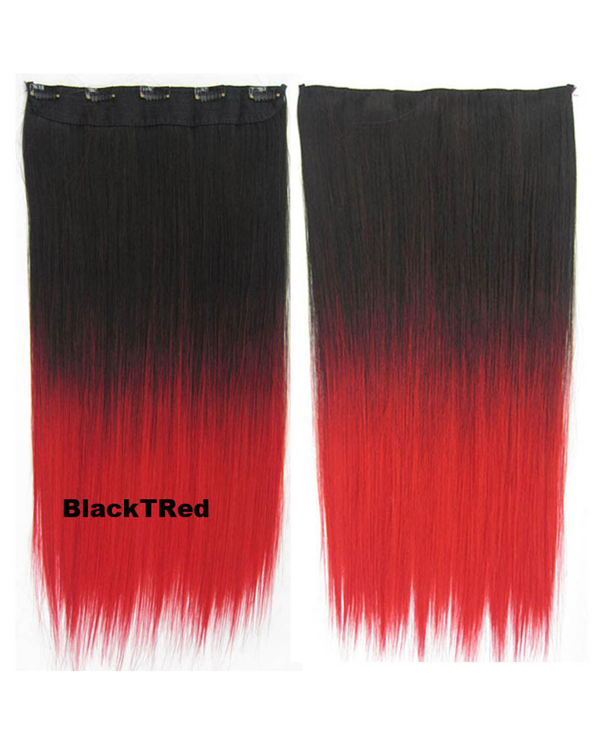 24 Inch Female Popular and Salable Long Straight One Piece 5 Clips Clip in Synthetic Hair Extension Ombre  BlackTRed